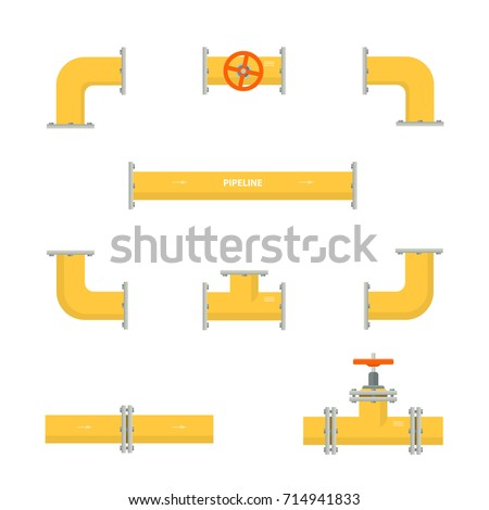 Kit set of pipelines. Isolated yellow elements of the pipeline. Gas and oil industry. Vector illustration in flat style.