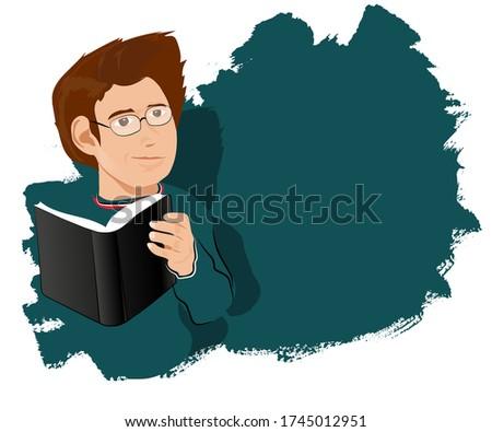 kitap okuyan gözlüklü yeşil tişörtlü öğrenci genç çocuk. Okumak, bakmak, dinlemek, düşünmek, izlemek, tutmak, seyretmek. Student teen boy in green shirt with glasses reading a book. Reading, looking,  Stok fotoğraf ©