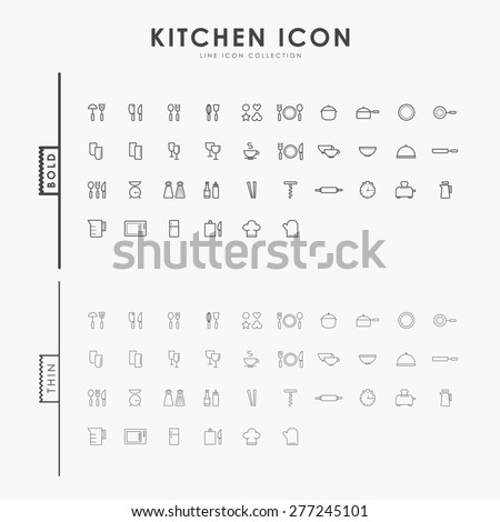 kitchen accessories bold and thin line icons