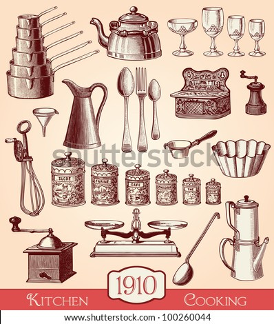Kitchen And Cooking Elements - Vintage Engraved Illustration