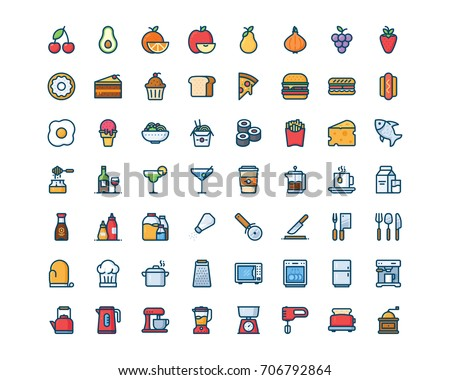 Kitchen and food icon set, filled outline style