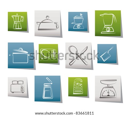 kitchen and household equipment icon - vector icon set