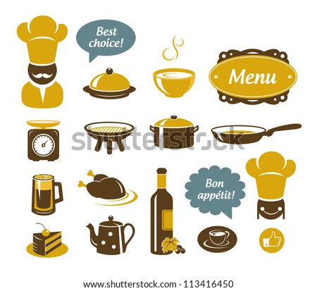 stock vector : Kitchen and restaurant icons