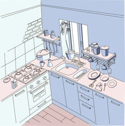 Kitchen, anime background style, blue and pink color
