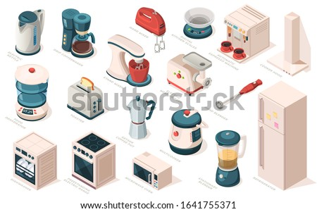Kitchen appliance set, equipment, item for cooking. Kettle, coffee maker machine, mixer, meat grinder, hood, scales, blender, toaster, food dehydrator, fridge, multicooker, microwave, oven, dishwasher