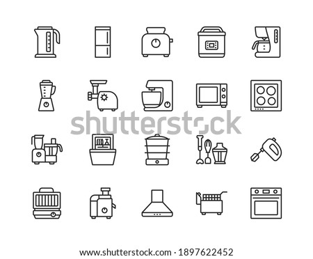 Kitchen appliances line icon set. Vector illustration household equipment for cooking. Editable strokes