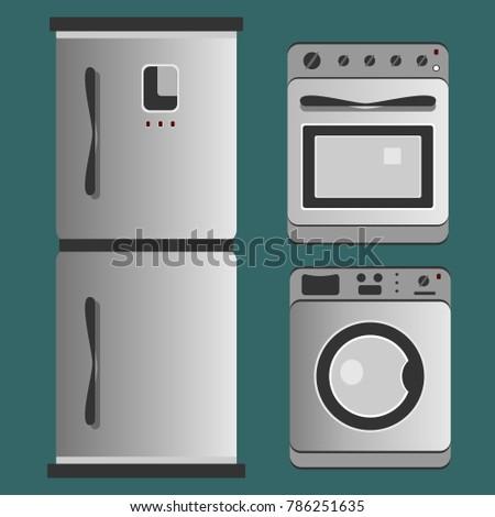 Kitchen appliances. Refrigerator, washing machine, gas stove