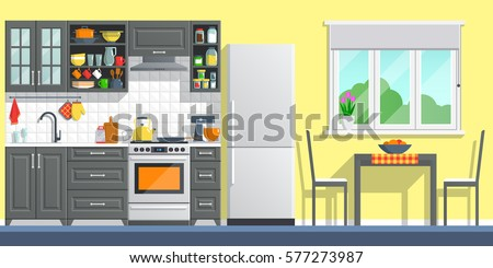 Kitchen appliances with black interior background. flat home art vector illustration. indoor kitchen furniture, banner cooking cartoon style. culinary decorations room.