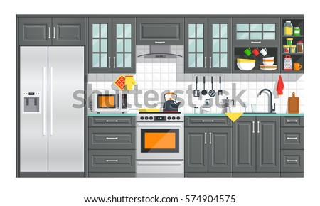 kitchen appliances with black