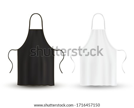 Kitchen apron set, black and white clothing for kitchen cooking. Cook uniform or housewife accessory. Vector apron illustration on white background