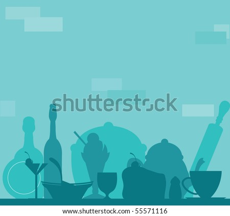 kitchen background, food and drink - stock vector