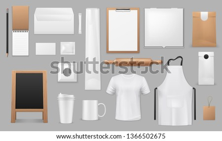 Kitchen baking tools, cooking equipment and chef apparel. Vector isolated mockups of cook apron, restaurant menu chalkboard, recipe notebook, dough rolling pin and takeaway paper bag or coffee cup Foto d'archivio ©