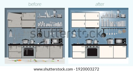 Kitchen before and after cleaning dirty dish in kitchen, clean plates and messy dinnerware. Dirt unwashed or clean dish wash, washing home utensil cartoon vector illustration.  Photo stock ©