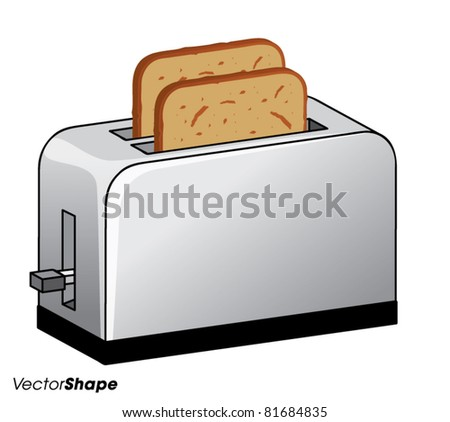 Kitchen bread toaster with fresh toasted bread inside vector illustration