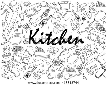 kitchen coloring book line art