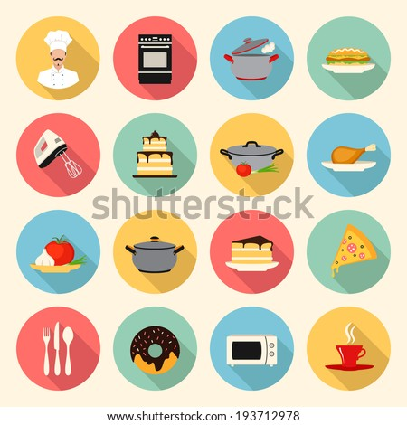 kitchen, cooking, restaurant  and food flat style icons set. template elements for web and mobile applications