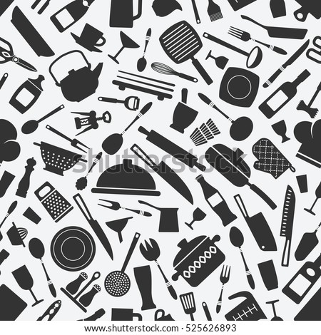 kitchen cookware monochrome seamless pattern. vector illustration - eps 8