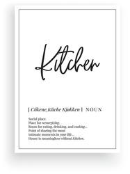 Kitchen definition, vector. Minimalist poster design. Wall decals, kitchen noun description. Wording Design isolated on white background, lettering. Wall art artwork. Modern poster design