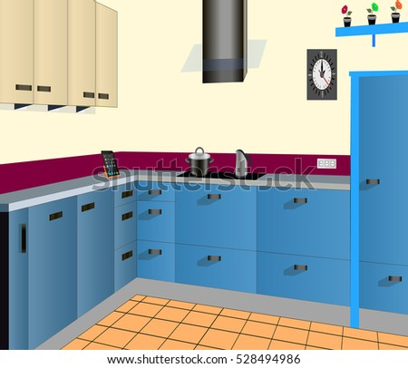 Kitchen Design Blue,kitchen Icon,interiror Room, Symbol Furniture, Vector  Illustration