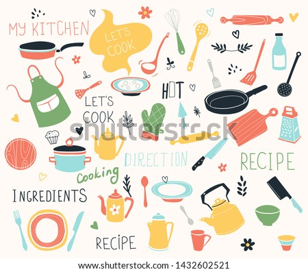 Kitchen doodle vector icon set. For modern recipe card template set for cookbook. Menu creator.