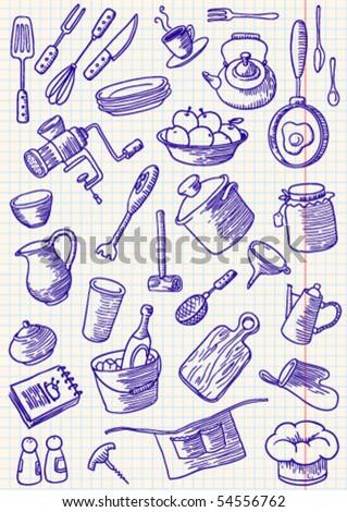 Kitchen doodles set - stock vector