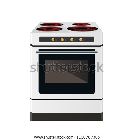 Kitchen electric stove. The household equipment. Vector illustration. Front view