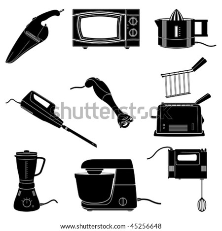 kitchen electrical appliances black and white silhouettes