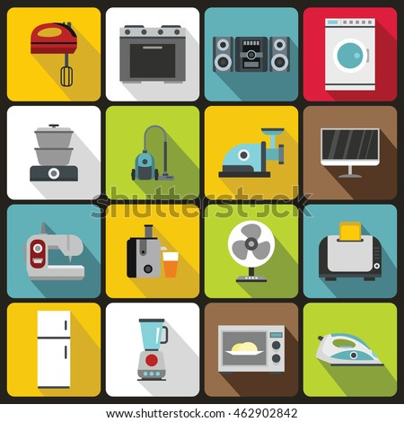 Kitchen electronic appliances icons set in flat style. Home electrical devices elements set collection vector illustration