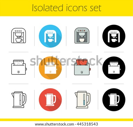 Kitchen electronics icons set. Flat design, linear, black and color styles. Kitchen appliances. Espresso coffee machine, toaster with toasted bread, electric kettle. Isolated vector illustrations Stock photo ©