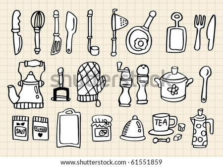 Kitchen element,hand draw - stock vector