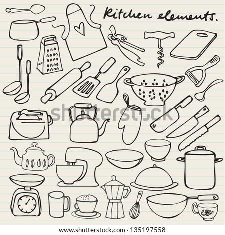 Kitchen elements doodle