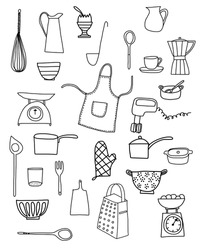 Kitchen equipment isolated vector hand drawn doodle icons in black and white