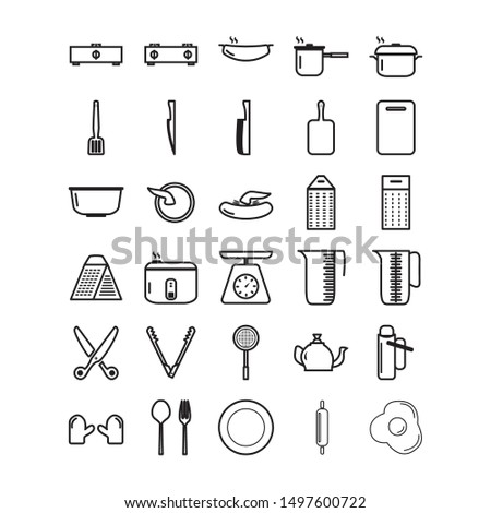 kitchen equipment 30 set icon,  available a set of cooking utensils icon with three choices of styles: outline style, fill style and color style.