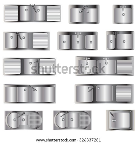 Royalty Free Kitchen Equipment Sinks Top View Set 326336870