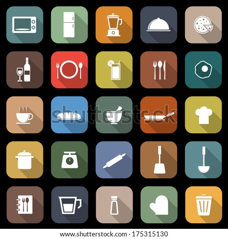 kitchen flat icons with long