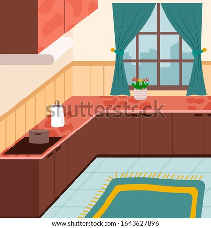 Kitchen furnished nobody place with big window and buildings view. Pan on stove, paper towel on wooden furniture with houseplant symbol. Interior view of cooking room dishes and cupboard vector