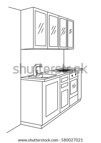 kitchen furniture sketch in