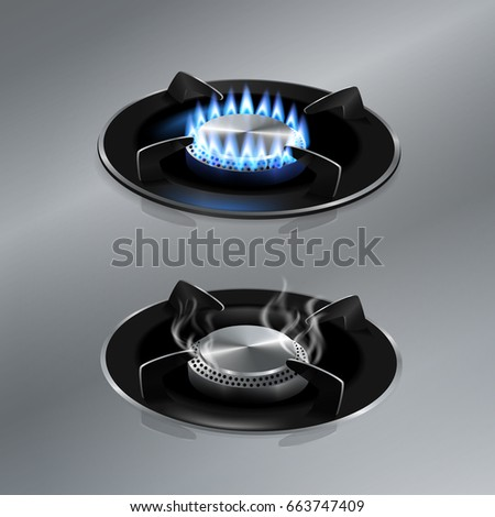 kitchen gas stove on stainless