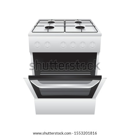 Kitchen gas stove realistic illustration. Gas Freestanding Range. Single oven gas range with 4 sealed burner cooktop. Part of set. Сток-фото ©