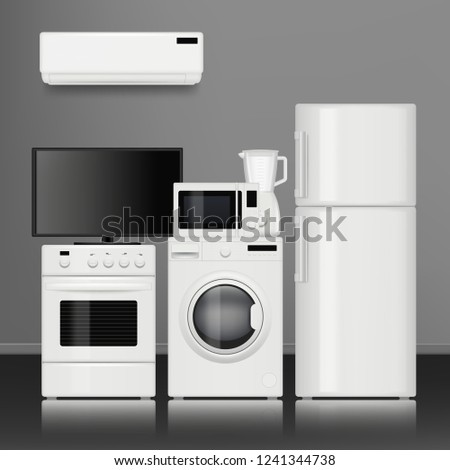 Kitchen home appliances. Household store electrical tools electronic items vector realistic pictures