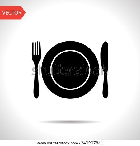 kitchen icon of dish, fork and knife