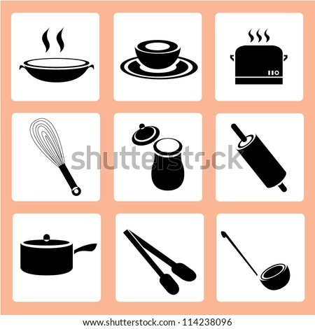 kitchen icon set, food and drink icon set