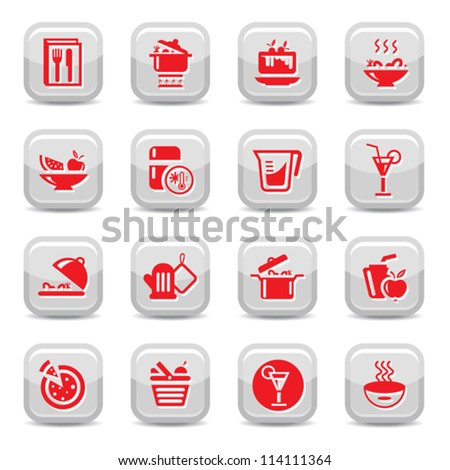 Kitchen Icon Set for web and mobile. All elements are grouped.