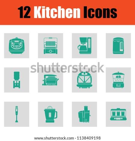 kitchen icon set green on gray