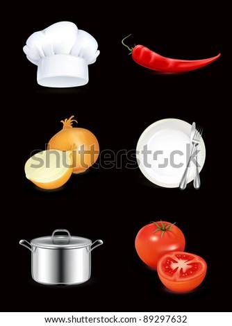 Kitchen, icon set on black