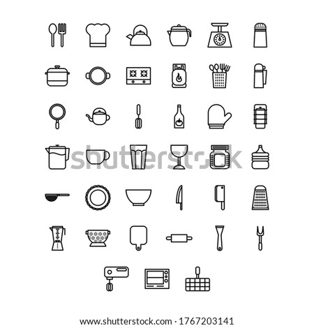 Kitchen Icon Set. You can use it for restaurant kitchen icon, home kitchen design, kitchen interior design, cooking live show icon and etc.