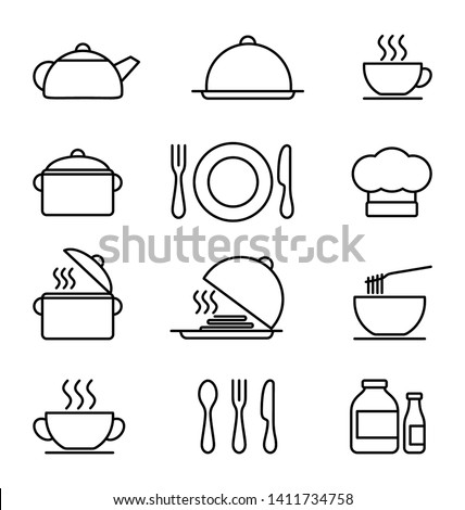 Kitchen icons set, black and white vector icons in thin line style. Flat design
