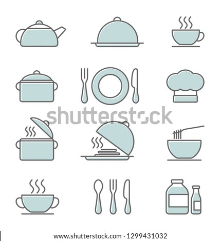 Kitchen icons set, colored vector icons in thin line style. Flat design