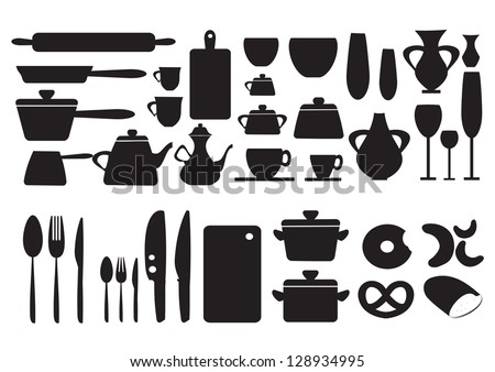 Kitchen Icons Set For Web Isolated On White Background - Vector Illustration, Graphic Design Useful For Your Design. Logo Symbols