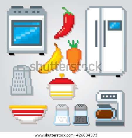 Kitchen icons set. Pixel art. Old school computer graphic style. Games elements.